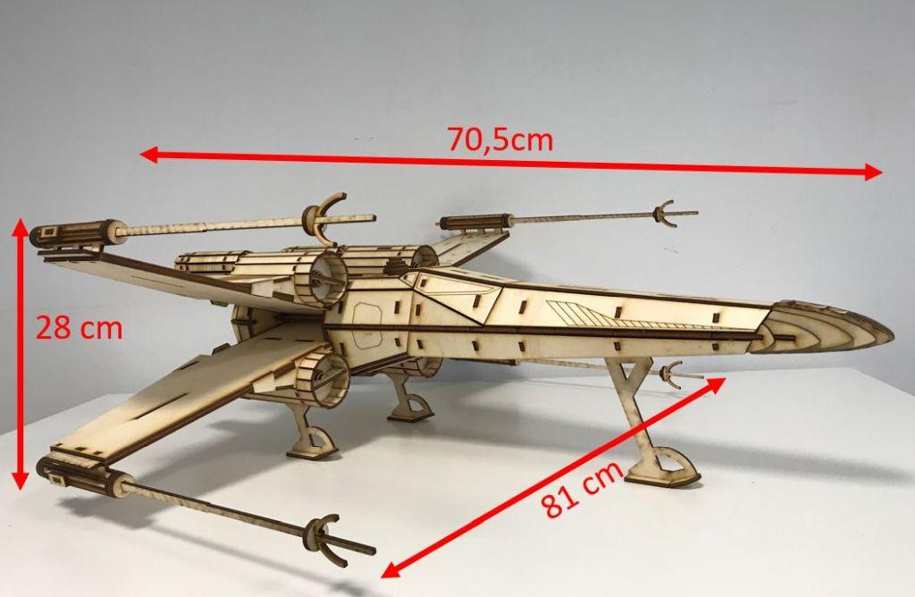 Star Wars Holzmodell X-Wing Starfighter Klasse T-65B aus Holz als Bausatz